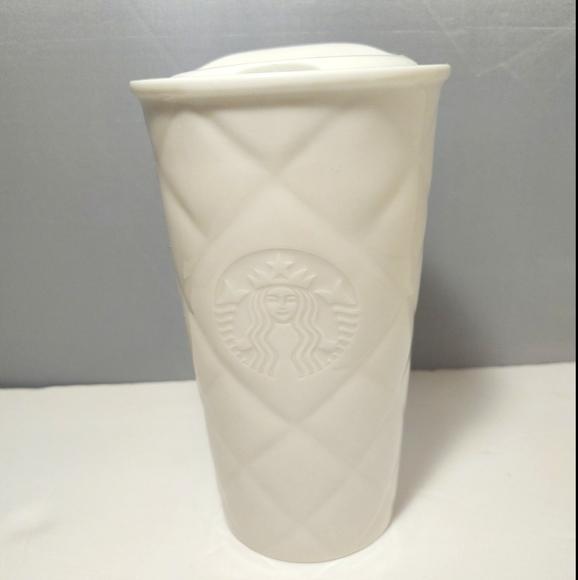 Starbucks 2012 Ceramic White Quilted Tumbler Mug